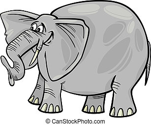 dessin animé, illustration, éléphant