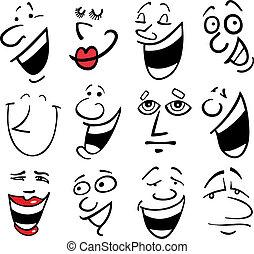 dessin animé, illustration, émotions