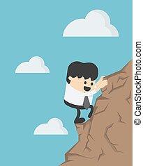 dessin animé, illustration, concept, jeune, homme affaires, escalade, business