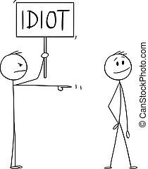 dessin animé, illustration homme, sourire, pointage, fâché, signe, ou, homme affaires, idiot, vecteur