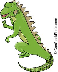 dessin animé, illustration, iguane