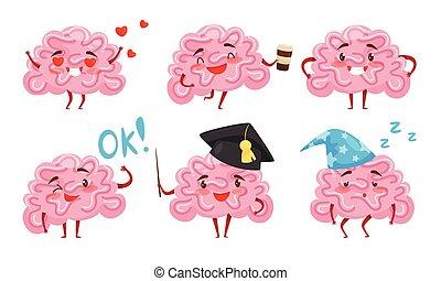 dessin animé, illustration, rigolote, cerveau, figure, collection, humain, caractère, situations, vecteur, différent