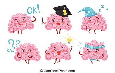 dessin animé, illustration, rigolote, cerveau, figure, collection, situations, caractère, vecteur, différent