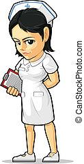 dessin animé, infirmière