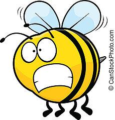 dessin animé, inquiété, abeille