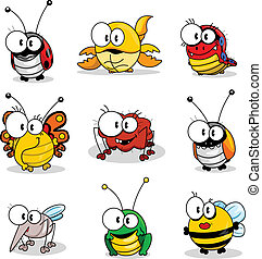 dessin animé, insectes