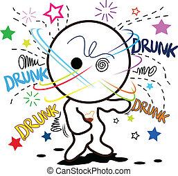 dessin animé, ivre