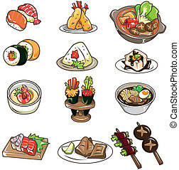 dessin animé, japonais nourriture, icône