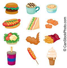 dessin animé, jeûne, icône, nourriture