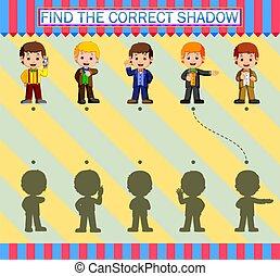 dessin animé, jeune, correct, trouver, caractères, homme affaires, shadow.