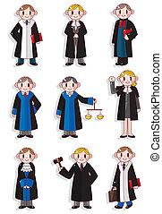 dessin animé, juge, ensemble, icône