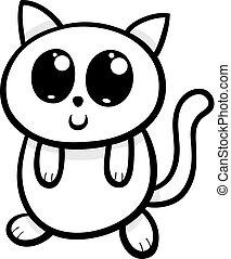 Kawaii Mignon Illustration Chat Malade Kitten Mal Tete