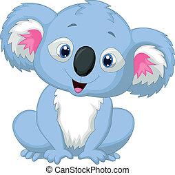 dessin animé, koala, mignon