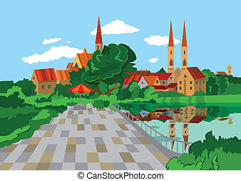 dessin animé, lac, parc