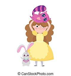 dessin animé, lapin, girl, pays merveilles, caractère, chat, tête