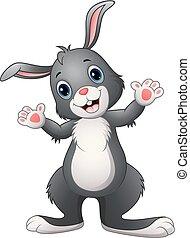 dessin animé, lapin, heureux