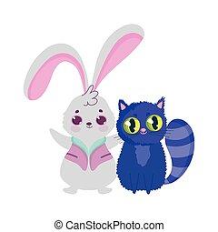 dessin animé, lapin, pays merveilles, caractère, chat