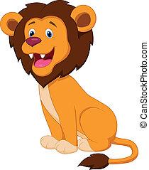 dessin animé, lion, mignon
