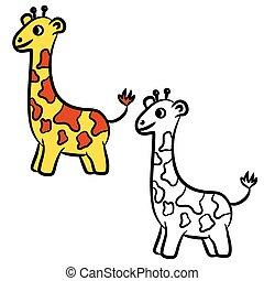 dessin animé, livre, coloration, giraffe.