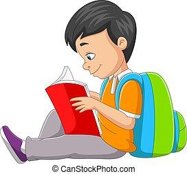 dessin animé, livre, garçon, peu, lecture