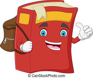 dessin animé, livre, heureux, donner, pouce haut