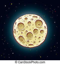 dessin animé, lune