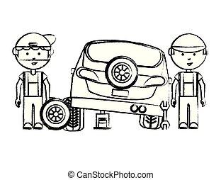 dessin animé, mécanicien, icône