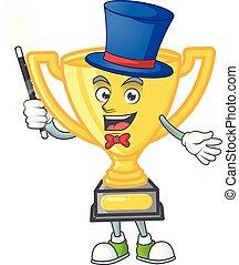 dessin animé, magicien, or, blanc, trophée, arrière-plan.