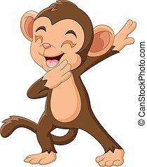 dessin animé, main, heureux, onduler, singe