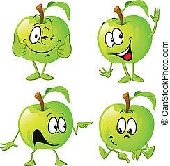dessin animé, main, pomme verte