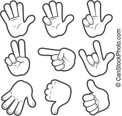 dessin animé, mains, #1