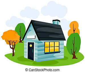 dessin animé, maison