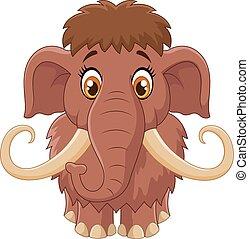 dessin animé, mammouth, mignon