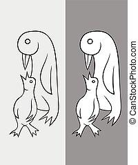 dessin animé, manchots