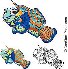 dessin animé, mandarinfish