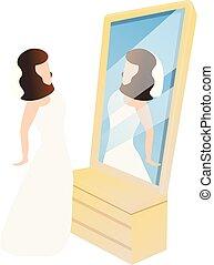 dessin animé, mariée, miroir, icône, style