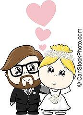 dessin animé, mariage