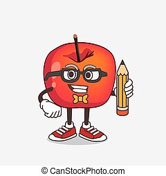 dessin animé, mascotte, crayon, pomme, crabe, caractère, tenue