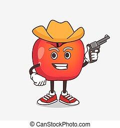 dessin animé, mascotte, fusil, pomme, crabe, caractère, tenue