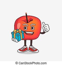 dessin animé, mascotte, pomme, crabe, caractère, cadeau