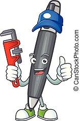 dessin animé, mascotte, stylo bille, caractère, noir, plombier