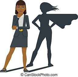 dessin animé, mascotte, super, ombre, héros, femme affaires