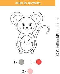 dessin animé, math, kids., mignon, coloration, mouse.
