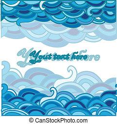 dessin animé, mer, fond