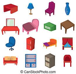 dessin animé, meubles, icône