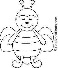 dessin animé, mignon, abeille
