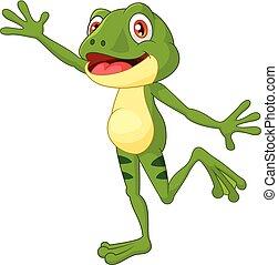 dessin animé, mignon, grenouille, onduler, main
