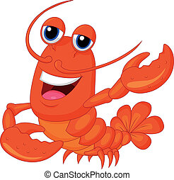 dessin animé, mignon, présentation, homard