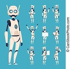 dessin animé, mignon, vecteur, caractères, bionique, androïde, personnes, poses, robots., humanoïde, action, bras