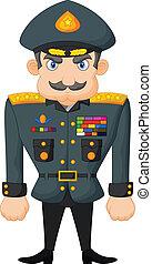dessin animé, militaire, général